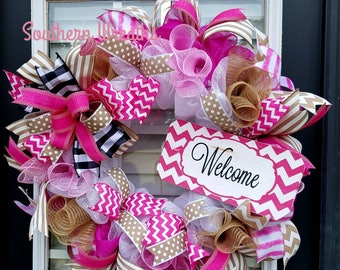 Sale/Pink Chevron Summer Wreath/ Deco Mesh Welcome Wreath/ Wreath for Front Door/ Burlap Summer Welcome Door Wreath/ Housewarming