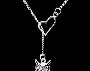 Mom Gift, Owl Necklace, Animal Necklace, Best Friend Gift, Sister Gift, Mother Gift Mama Bird Mother's Day Gift Heart Lariat Necklace
