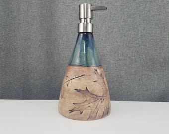 Made to Order(up to 3 weeks)*Ceramic Soap Dispenser Handmade Pottery Lotion Dispenser Pottery for Kitchen and Bath - Coral - Leafs
