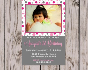 Digital Pink and Gray Polka Dot Birthday Invitation