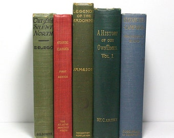 Antique Books, Vintage Books, Set of 5 Hardcover Books, Published 1884 to 1923, Old Books, Wedding Decor, Stage Decor, Photo Props