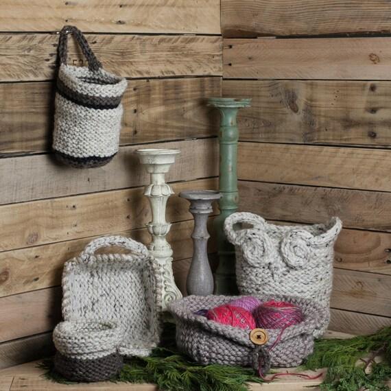 Loom Knit Basket PATTERNS, Owl Basket, Bread Basket, Yarn Basket, Door Knob Basket, Round Basket, Rectangular Basket, (5) PDF PATTERNS.