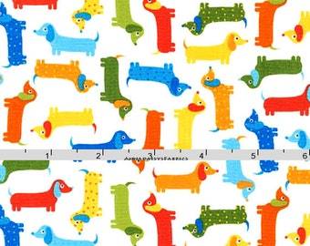 Dachshund Fabric, Doxie Fabric, Ann Kelle, Robert Kaufman 15737 237 Bermuda, Urban Zoologie Minis, Doxie Quilt Fabric, Dog Fabric, Cotton