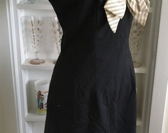 1950s 50s Vintage Black Cotton Shantung Secretary Dress w/Striped Bow