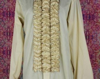 Vintage 1970s Ruffled Tuxedo Shirt