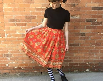 1950s Vintage Cotton Folk Motif Circle Skirt, Homesewn