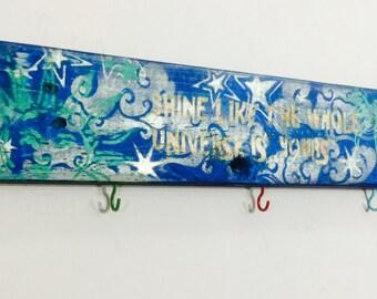 Custom wood signs/ wooden word sign sayings/ spiritual yogi reclaimed pallet wood art/ colorful wall hanging personalized yoga studio decor
