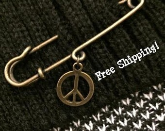 Safety Pin with Peace Charm - I am safe - Antique Brass - Groovy Hats