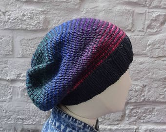 Large Slouchy Hat, Oversize Multicolour Knitted Beanie, Black, Red, Purple, Blue, Green - ready to ship - FREE DELIVERY