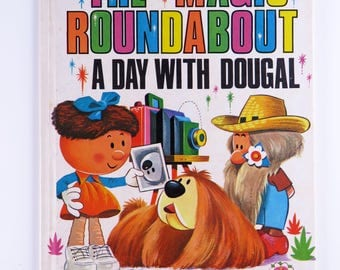 Vintage 60s The Magic Roundabout A Day With Dougal book - super cute illustrations - based on the popular BBC TV series
