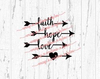 Faith Hope Love Heart Arrow Set Of 4 digital cut file for htv-vinyl-decal-diy-plotter-vinyl cutter-craft cutter-.SVG and .DXF format