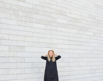 Black linen dress- pure linen dress- linen midi dress- summer dress- plus size linen dress- black dress- loose fit dress- casual dress