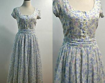 KATIE MFG | Large | 1980s Vintage Floral Flare Skirt Dress | Midi Length Dress | Cap Sleeve Dress | Ballerina Skirt Dress | Scoop Neck