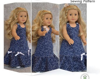 Charming Dress and hairband 18 inch American Girl doll clothes, PDF Sewing Pattern for 18 inch dolls, Madame Alexander, One pattern 4 looks