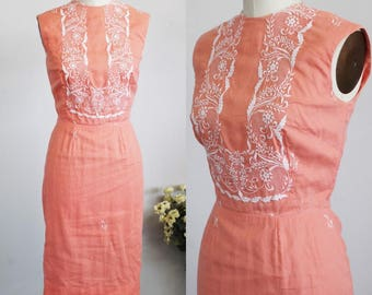 Vintage 1950s Wiggle Dress With Embroidered Bullet Bra Bodice / 50s Orange Peach Dress White Embroidery / Sleeveless 50s Day Dress
