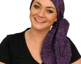 Carlee Pre-Tied Head Scarf - A Women's Cancer Headwear, Chemo Scarf, Alopecia Hat, Head Wrap, Head Cover for Hair Loss - Purple Mania