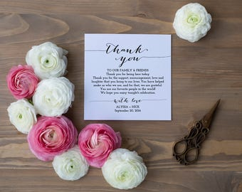 Wedding Thank You Card Template Printable Personalized Table