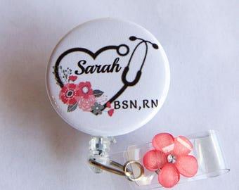 Badge Reel Floral Stethoscope Nurse Personalized Badge Holder- Stethoscope ID Tag- Badge Reel- Nurse Badge Reel-Retractable ID Holder