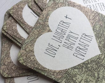 Wedding Advice Cards - Wedding Coasters - Wedding Favors - Advice Cards - Wedding Advice - Drink Coasters - Destination Wedding - World Map
