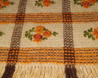 Polish Wool Table runner Woven Serape Table Polish Tapestry Folk topper hand embroidered flower Cepelia rustic home Polish linen Brown Beige