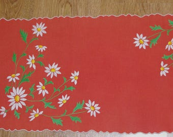 Polish Dark orange embroidered floral table runner & napkin traycloth White Green Flowers Embroidery Table top flowery dresser scarf Spring