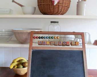 Charming true vintage childrens blackboard/chalk board~Free-standing or wall hung~Abacus/Alphabet blocks~Perfect kitchen decor or menu board
