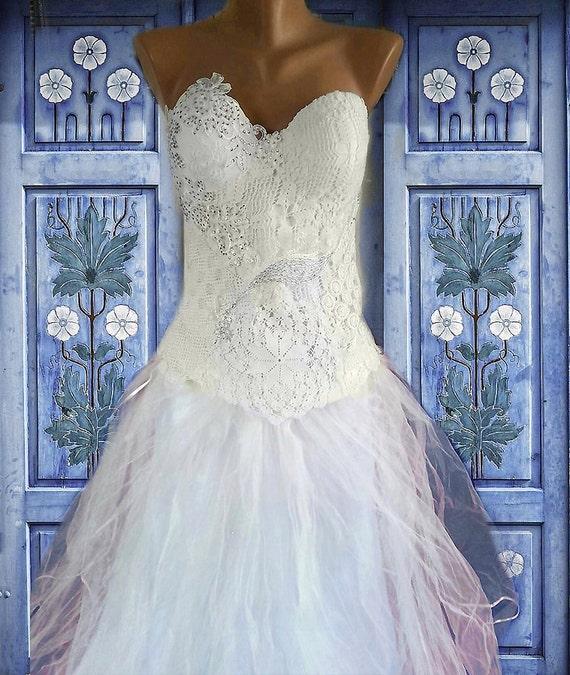 Unique collage ecru elegant crochet doily white ivory  combined wedding dress/Sale Off/alternative wedding dress/bridal corset
