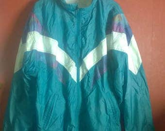 Vintage 90s Windbreaker  VINTAGE 90s WINDBREAKER SUIT  green Colorblock Activewear Size Xl xxl Nylon Windbreaker Jacket pants Sport