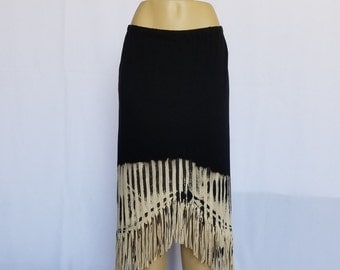 Long Black Skirt with Black Vertical Lines