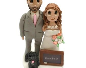 Custom Construction Worker and Teacher Wedding Cake Topper