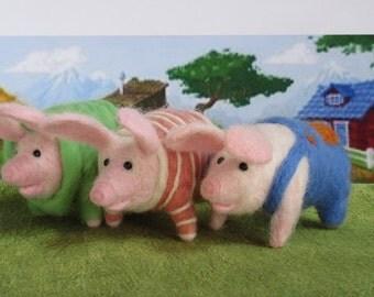 Set of 3 Three Little Pigs - Wool Needle Felted. Cute 4 Nursery shelf sitter. Handmade Felted