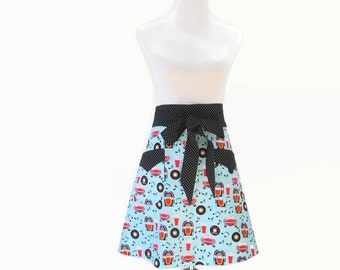 Plus 50s Rock N Roll Apron, Plus Blue Half Apron, Plus Juke BoxTheme Apron, Plus 50s Costume Apron, Plus Event Apron, Gift for Her
