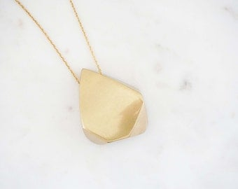 Matte Gold Geometric Pendant Necklace