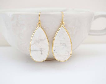 White Marble and Gold Teardrop Stone Earrings