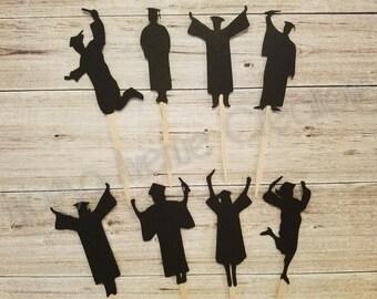 12 Graduation Cupcake Toppers - Graduate Silhouette Cupcake Toppers - Graduation Party Decorations - Graduate Cupcake Toppers