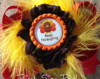 Baby Girl Thanksgiving turkey hair bow infant Toddler bottle cap shabby puff red yellow brown orange