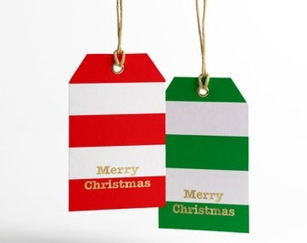 Merry Christmas Gift Tags, Red Stripes, Green Stripes, Gold Foil, Merry Christmas, Printable Gift Tags