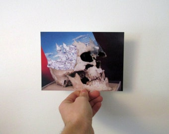 Art Postcard Crystal Skull Collage 5x7 inches Glossy