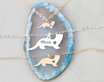 Ferret Gift Pet Ferret Necklace • Sterling Silver Ferret Charm Personalized Weasel Pet Engraved Name Ferret Pendant Rose Gold Pet
