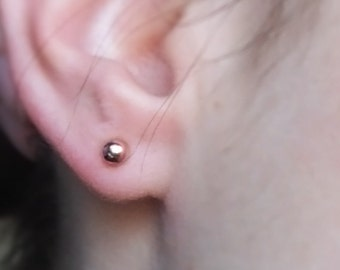 Mini ball earrings gold plated Rose Gold 4 mm 925 Silver in 585 gold or yellow gold