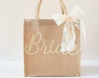 Bride Bag- Wedding Bag- Bride Tote- Bridesmaid Gift- Bride Gift- Wedding Tote- Bridal Shower- Personalized Bag- Burlap Tote