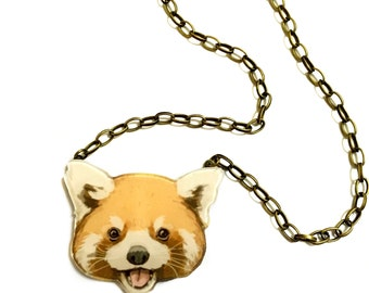 Red panda Necklace, Panda animal resin & acrylic geeky pendant charm white and black with golden brass statement necklace