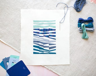 Striped Embroidery DIY Kit Blue Mid Century