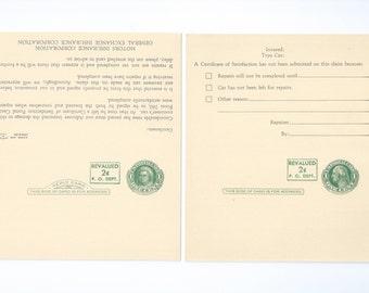 Martha & George Washington Paid Reply Postal Card, Postal Card UY14b Revalued 2c P.O. Dept. 1952