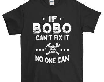 If Bobo Can't Fix It No One Can Grandpa T-shirt For Men Grandpa Gift Funny Screen Printed Tee Mens Man Tee Shirts