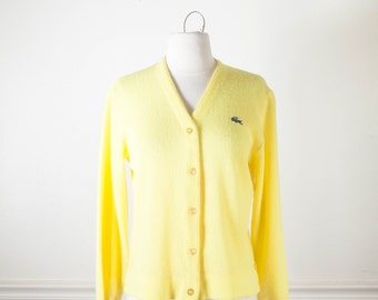 Yellow Cardigan Sweater, Oversized Sweater, Boyfriend Cardigan, Yellow Sweater, 60s Sweater, 70s Sweater Boyfriend Sweater Alligator Sweater