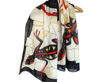 Hand painted silk scarf. Lizard scarf. Silk shawl with lizards. Red, black, white scarf. Salamander scarf handpainted. Extravagant scarf.