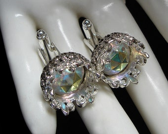 Crown Cufflinks with Crystal AB Cabochons - Silver - Aurora Borealis - The Fairy King - Medieval Fantasy - Men Jewelry - Wedding