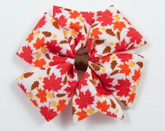 Fall Hair Bow, Autumn Hair Bow, Leaf Hair Bow, Fall Hair Clip, Halloween Hair Bow, Thanksgiving Hair Bow (Item #2062)