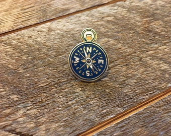 Compass Enamel Pin, Explore Pin, Single Hard Enamel Pin with Butterfly Clutch